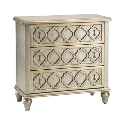 Geometric Gold and Silver Leaf Chest - Furniture