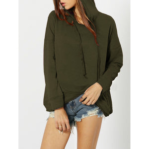 Army Green Dropped Shoulder Overlap Hoodie - Hoodies & Sweatshirts