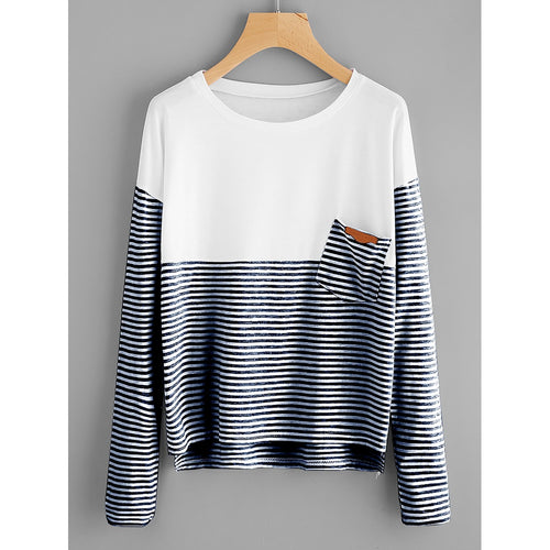 Navy and White Contrast Striped Dip Hem Tee - Casual Shirts