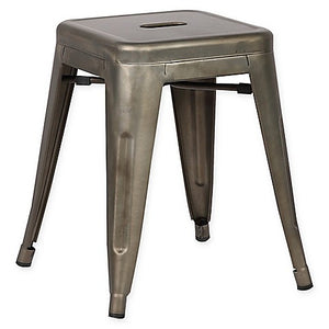 Galvanized Metal Stool - Home Decor