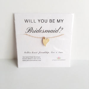 Will you Be My Bridesmaid? 14k Gold Filled Heart - Jewelry & Watches