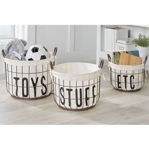 Printed Canvas Wire Toy Basket Set - Home Decor