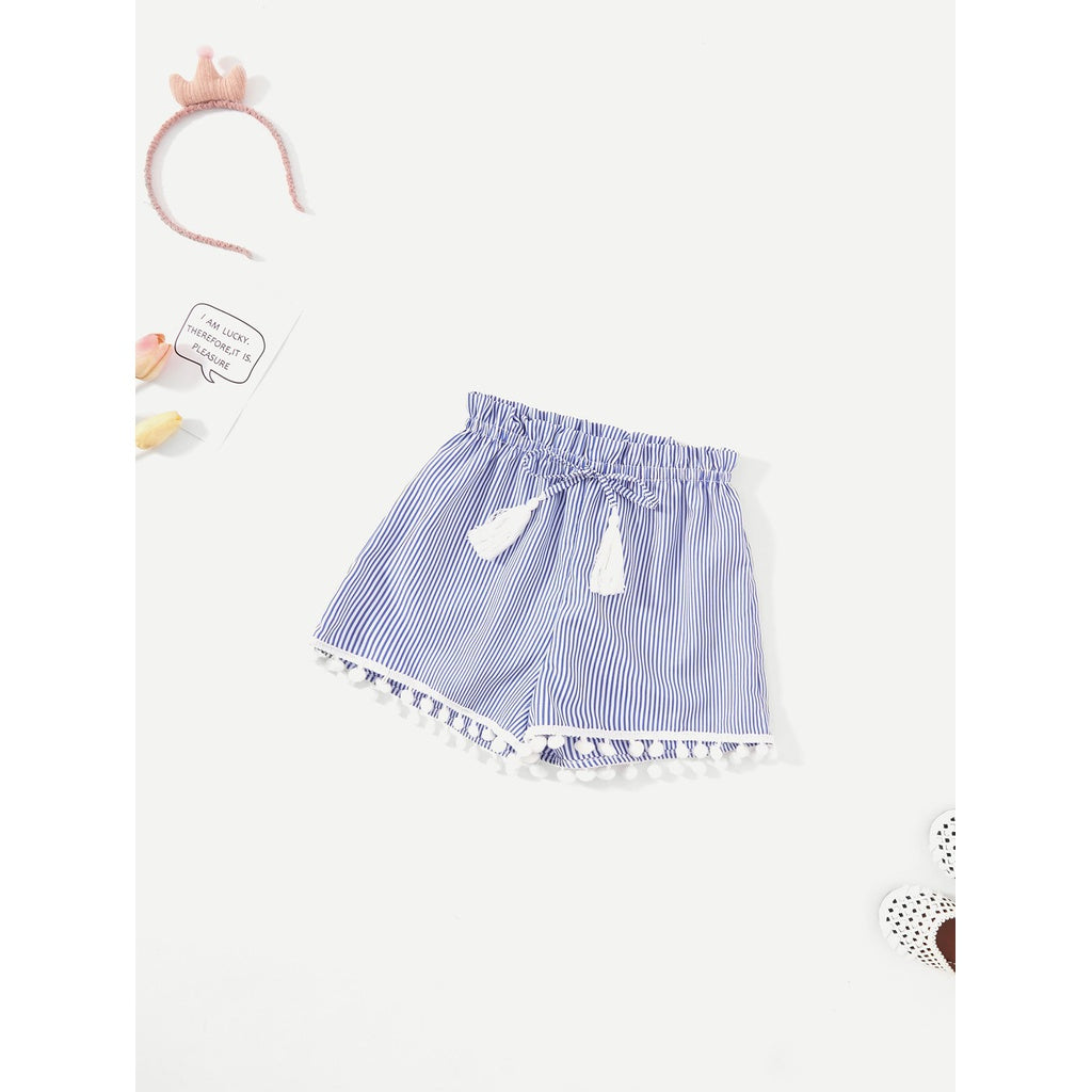 Girls Pom Pom Hem Tassel Detail Striped Shorts - Shorts