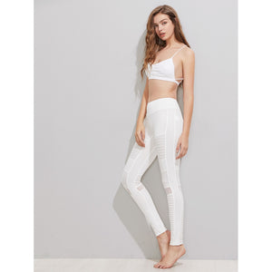 White Mesh Insert Pleated Stitch Leggings - Clothes, Leggings & Tights