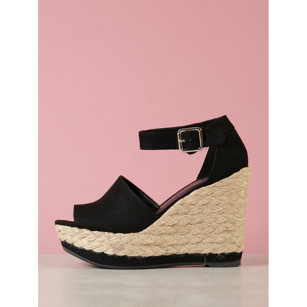 Peep Toe Espadrille Platform Wedge Sandal - Shoes, Wedges