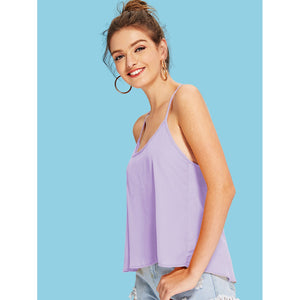 Bow Embellished Open Back Solid Cami Top - Women - Apparel - Shirts - Tunics