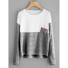 Black and White Contrast Striped Dip Hem Tee - Casual Shirts
