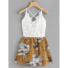 Floral Print Contrast Lace Cami Dress - Dresses