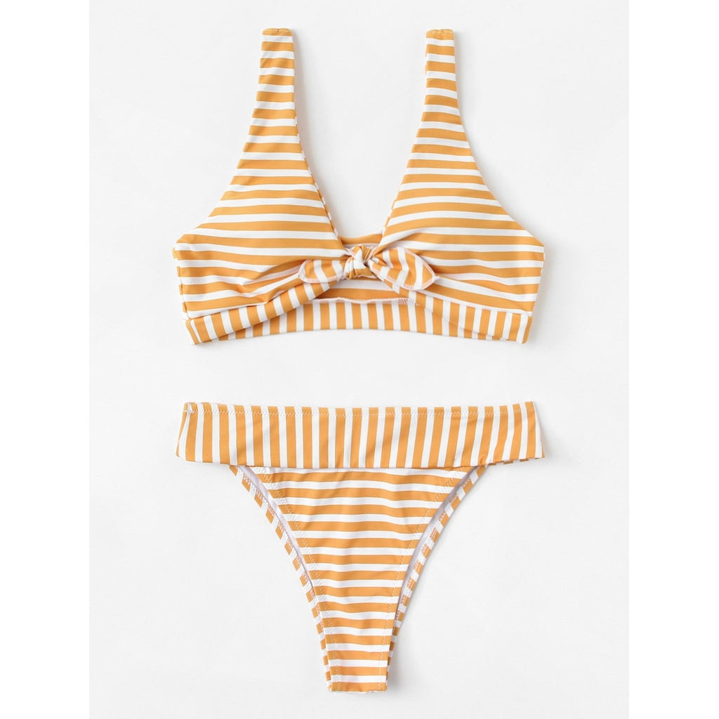 Knot Front Striped Bikini Set - Swimwear