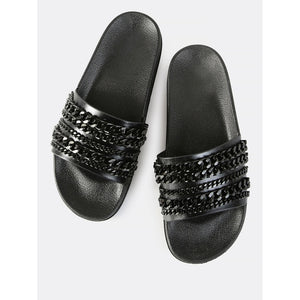 Black Sleek Chain Link Slides - Shoes, Sandals