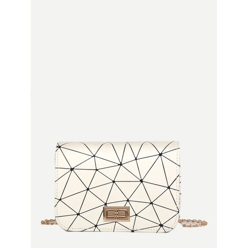 Geometric Print Chain Bag - Bags & Wallets