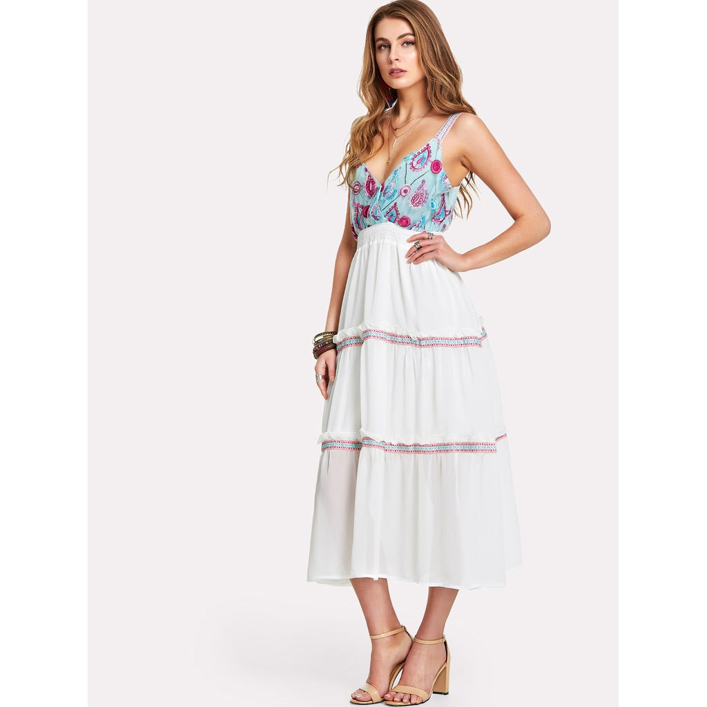 Embroidered Frilled Maxi Dress -