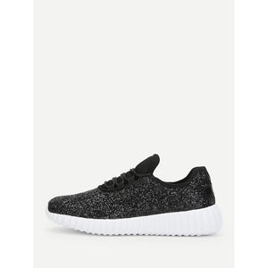 Low Top Glitter Trainers - Footwear