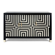 3 Door Black and White Cabinet - Furniture