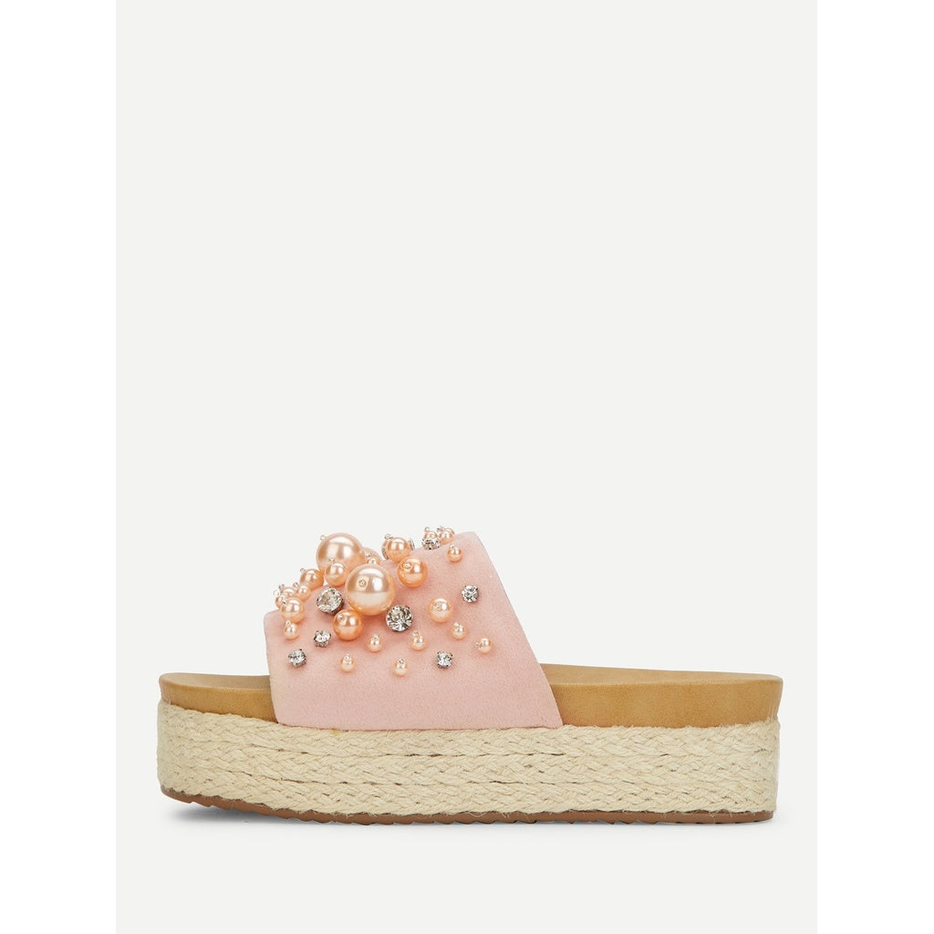Faux Pearl Decorated Flatform Sandals - Shoes, Sandals