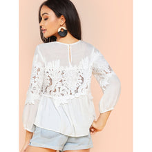 Bohemian Lace Detail Long Sleeve Top - Women - Apparel - Shirts - Blouses