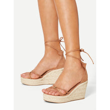 Lace Up Espadrille Wedges - Shoes - Wedges