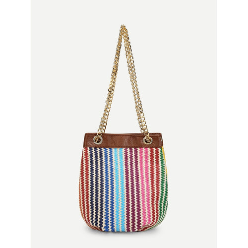 Striped Woven Bucket Chain Bag - Fashion Accessories