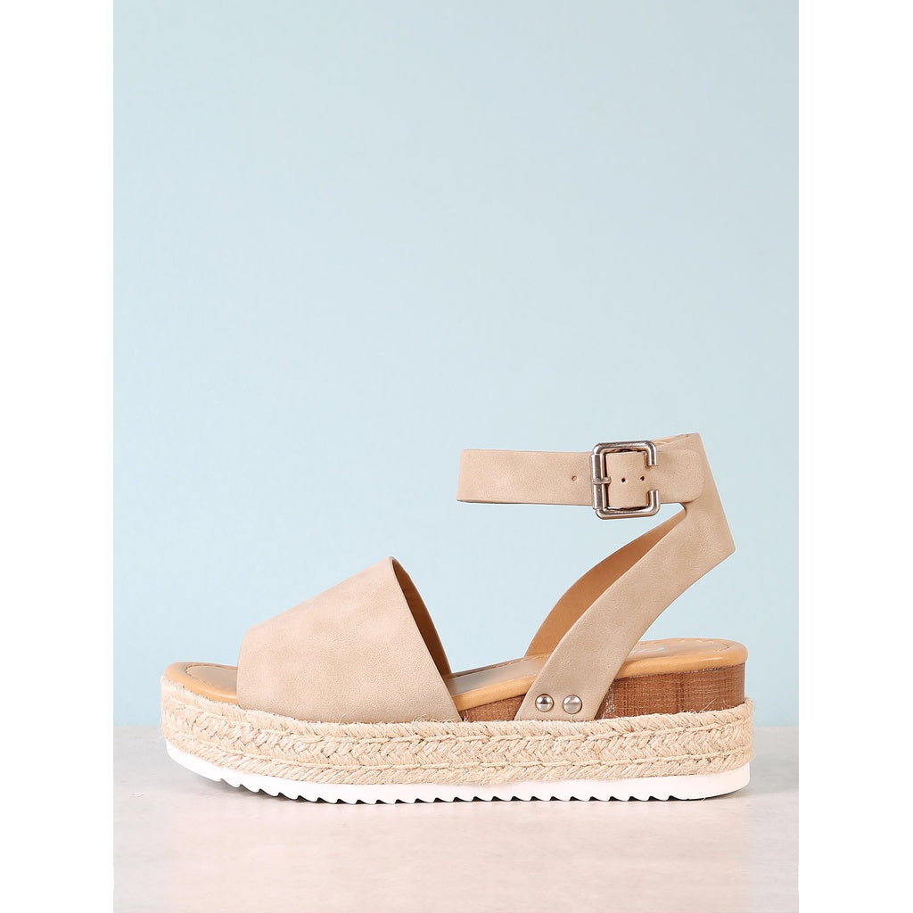 Espadrille Platform Ankle Strap Wedge Sandal - Shoes, Sandals