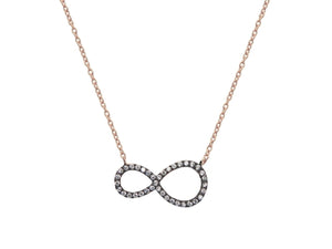 Sparkling Midnight Rose Infinity Necklace - Jewelry & Watches