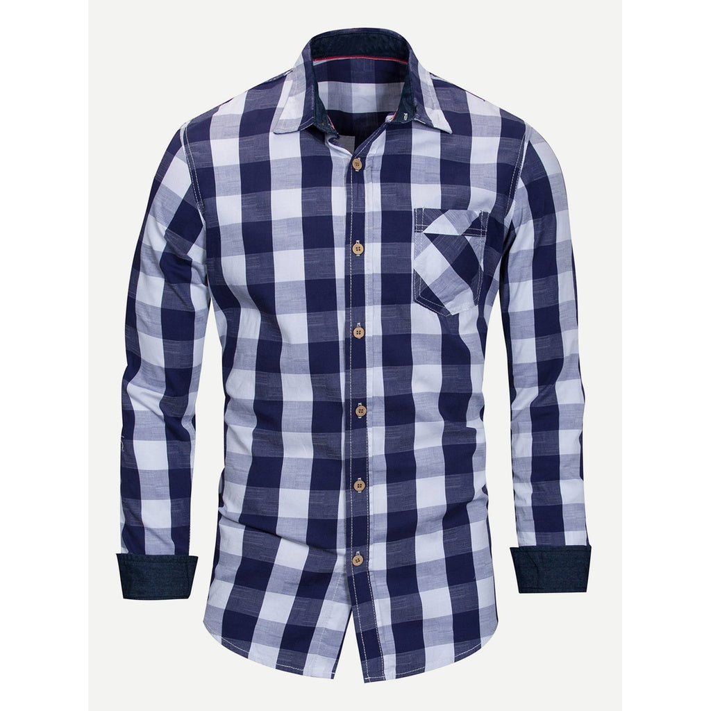Men Gingham Collar Shirt - Men - Apparel - Shirts - Blouses