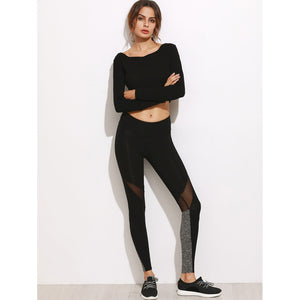 Black Color Block Mesh Insert Leggings - Clothes, Outerwear