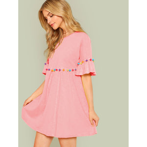 Pompom Embellished Flounce Sleeve Dress - Dresses