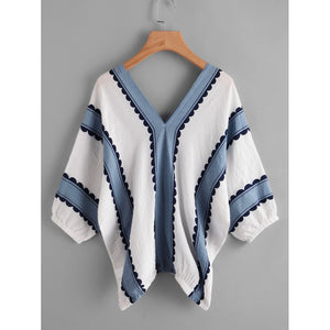Contrast Print Double V Blouse - Women - Apparel - Shirts - Blouses