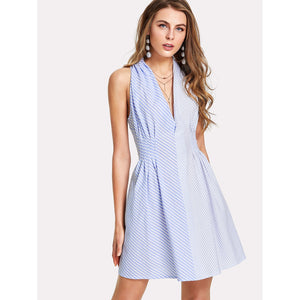 Fold Pleat Detail Mixed Stripe Dress - Clothes, Dresses