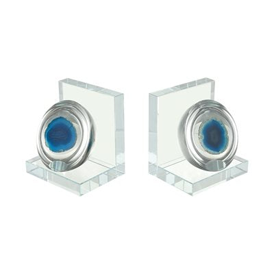 Clear and Blue Bookends - Home Decor