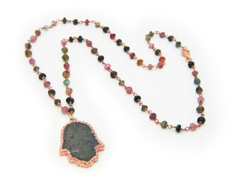 Labradorite Hamsa on Tourmaline Chain - Jewelry & Watches