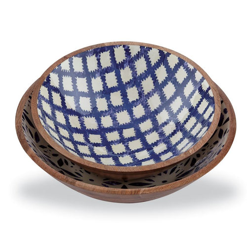 Wood/Enamel Bowl Set - Home Decor