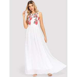 Flower Embroidered Sleeveless Maxi Dress - Dresses
