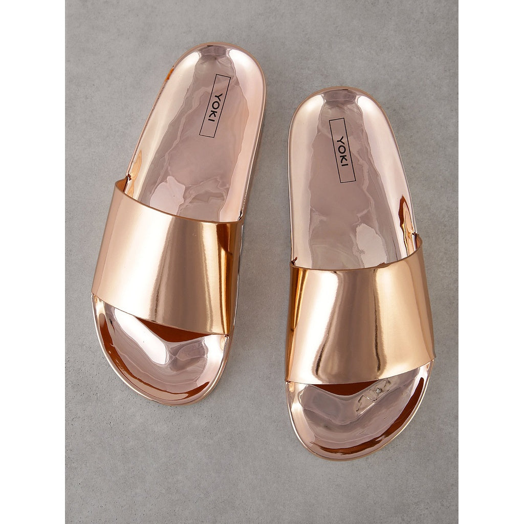 Metallic Single Band Slide - Shoes, Sandals