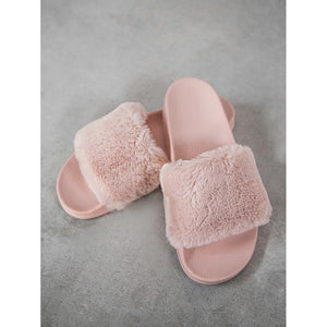 Faux Fur Slides - Shoes, Sandals