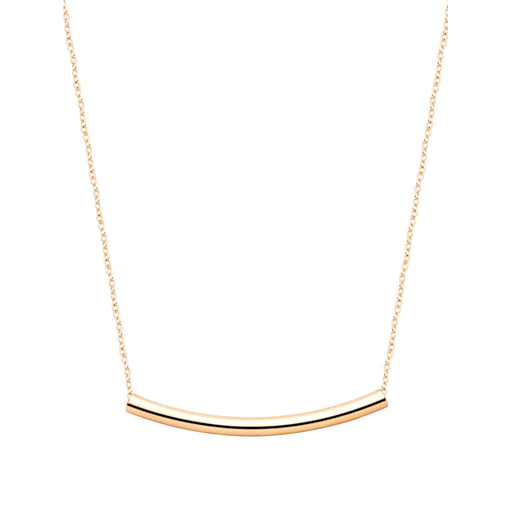Gold Plated Curved Bar Pendant Necklace - Women - Jewelry - Necklaces
