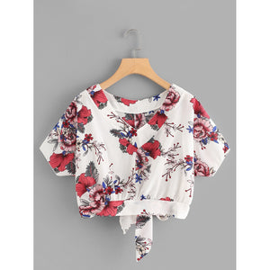 Floral Print Knot Back Top - Women - Apparel - Shirts - Blouses
