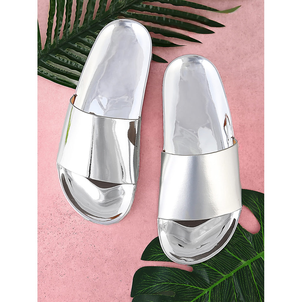 Metallic Single Band Slide Silver - Shoes, Sandals
