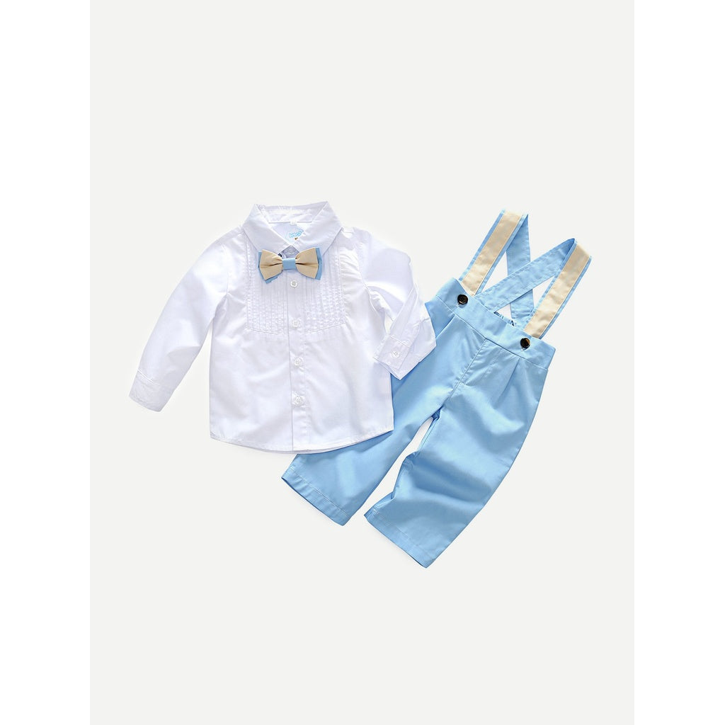 Boys Bow Front Pleated Top With Overall - Clothing Sets
