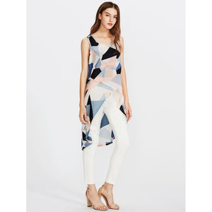 Random Geo Print Overlap Top - Women - Apparel - Shirts - Blouses