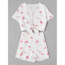 All Over Flamingo Print Knotted Top With Shorts - Women - Apparel - Jumpsuits/Rompers