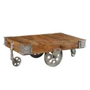 Industrial Wood Cart Coffee Table - Home - Furniture