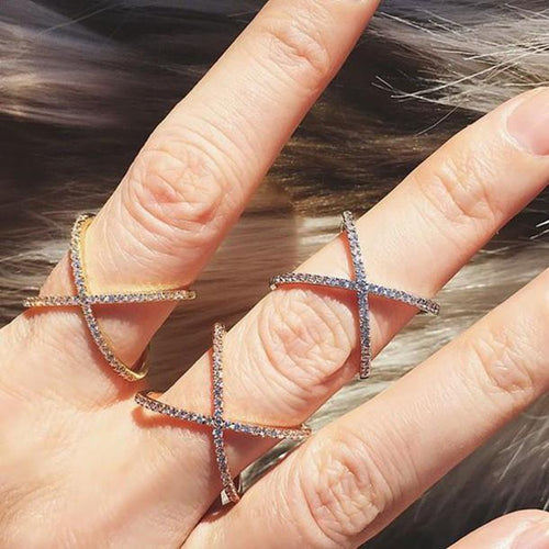 Pave Crystal X Cross Ring - Women - Jewelry - Rings