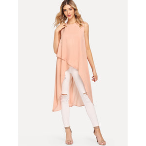 Overlay Front High Low Top - Women - Apparel - Shirts - Blouses
