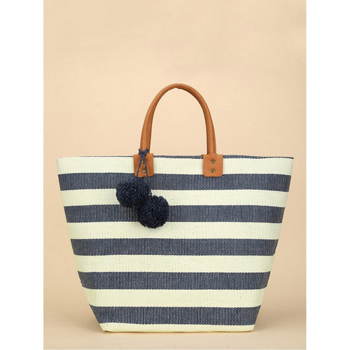 Pom Pom Detail Striped Tote Bag - Women - Bags - Totes