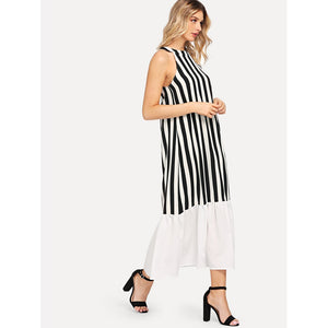 Block-Stripe Ruffle Hem Dress - Dresses
