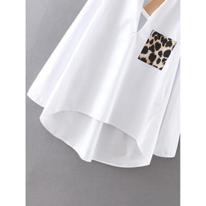Dip Hem Blouse With Leopard Pocket - Women - Apparel - Shirts - Blouses