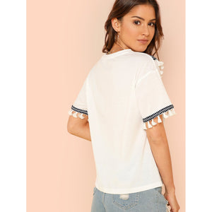 Embroidered Tape & Tassel Embellished T-shirt - Women - Apparel - Shirts - Blouses
