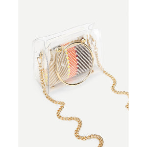 Clear Detail Ring Handle Woven Bag - Fashion Accessories