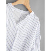 Rolled Up Sleeve Striped Dip Hem Blouse - Women - Apparel - Shirts - Blouses